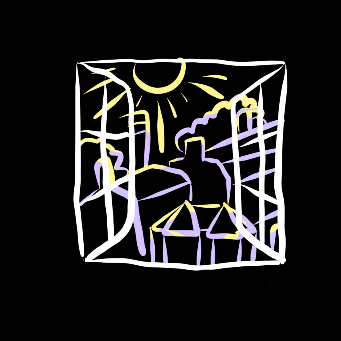 A frame from Aiden's first animation from their 'Visual Snow' piece