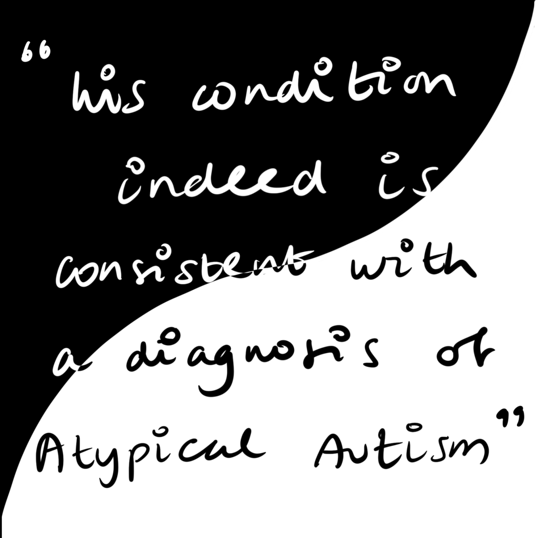 """The quote """"His condition indeed is consistent with a diagnosis of Atypical Autism"""" atop a yin-yang background"""